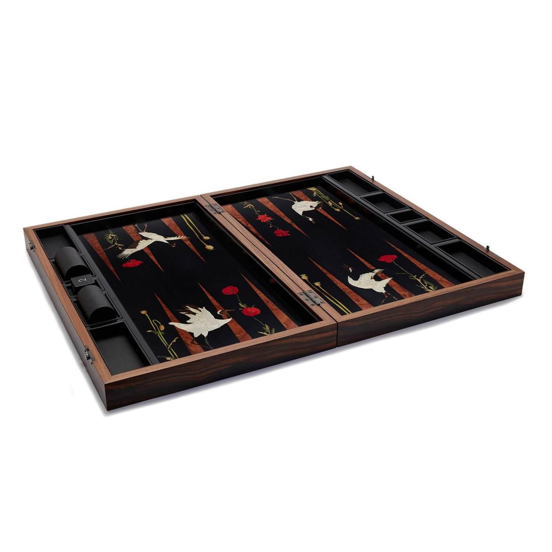 Alexandra Llewellyn Poppy&Crane Backgammon Set Open