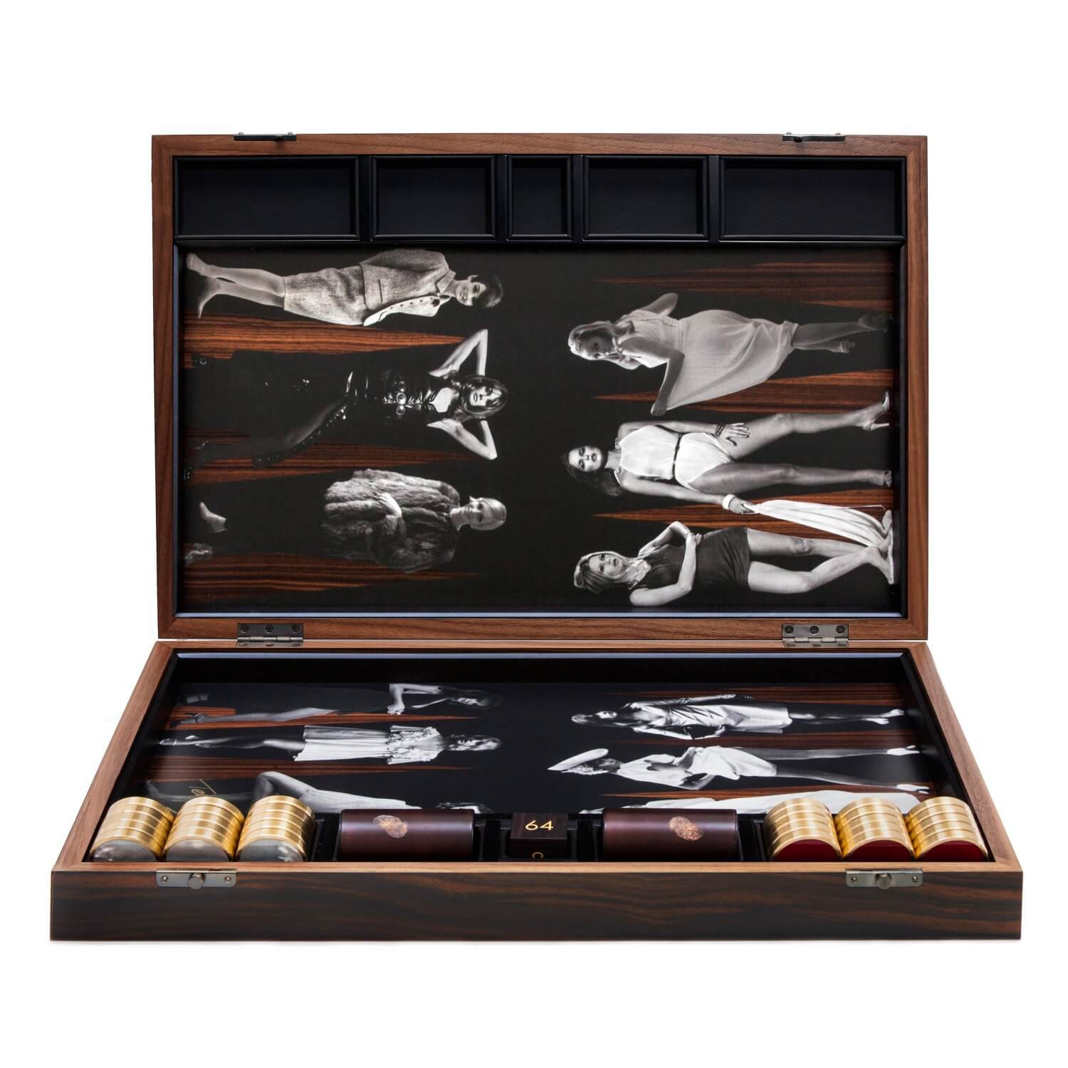 Goddesses backgammon board in an Ebony box with Red Jasper and Mother of Pearl playing pieces