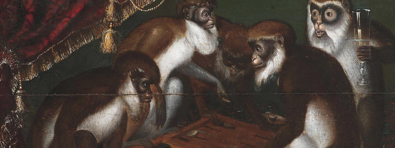 Alexandra Llewellyn History of Backgammon Hero Affengesellschaft beim Spiel