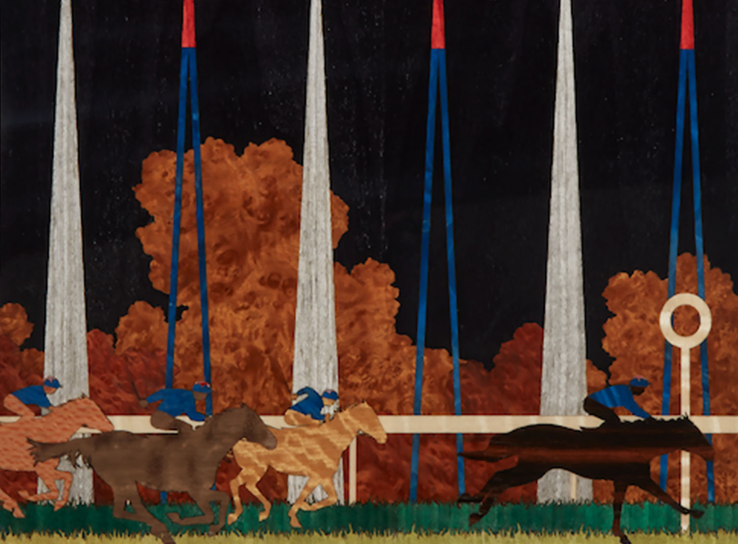 A marquetry backgammon board with horses racing around the board