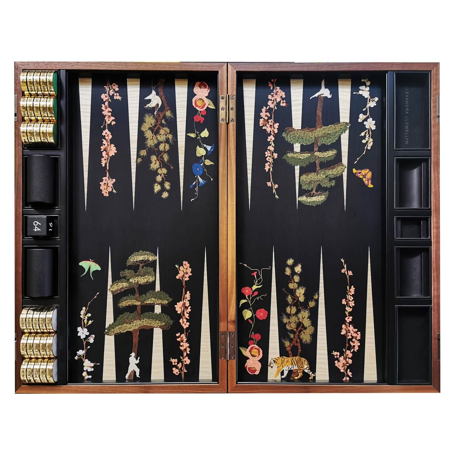 A bespoke marquetry backgammonn set with tigers and Japanese flora and fauna