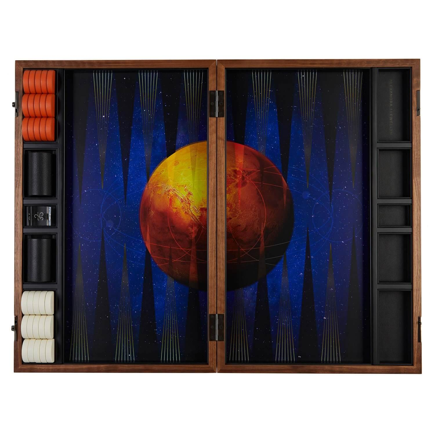 A bespoke 'Mars' and space design Photographic backgammon board