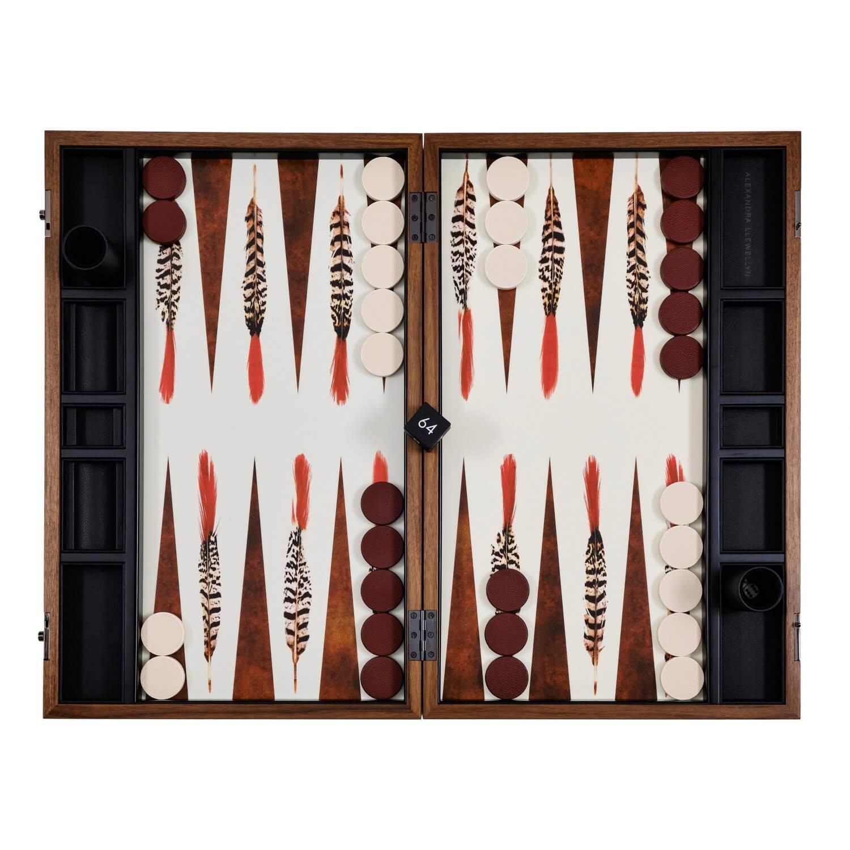 Alexandra Llewellyn B&W Feather Backgammon Set Open