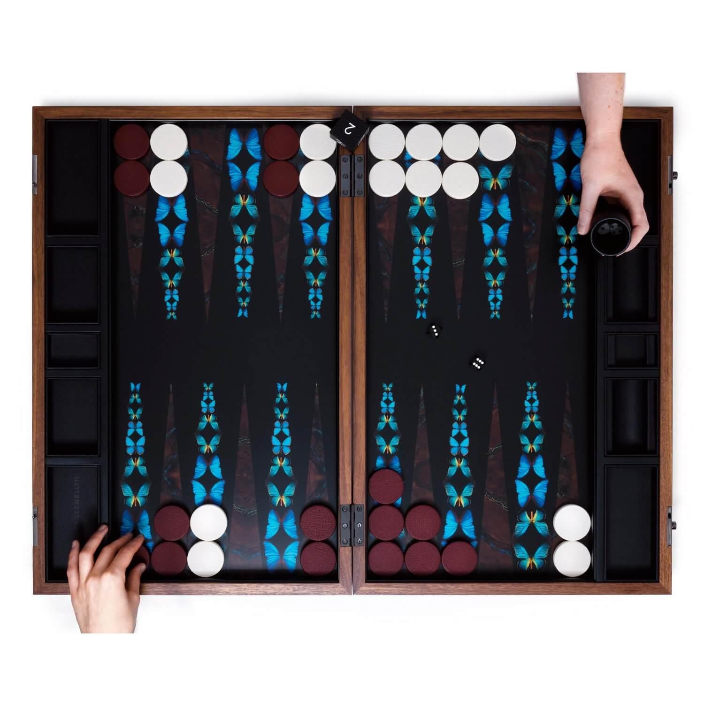 Alexandra Llewellyn Butterfly Backgammon Set Open