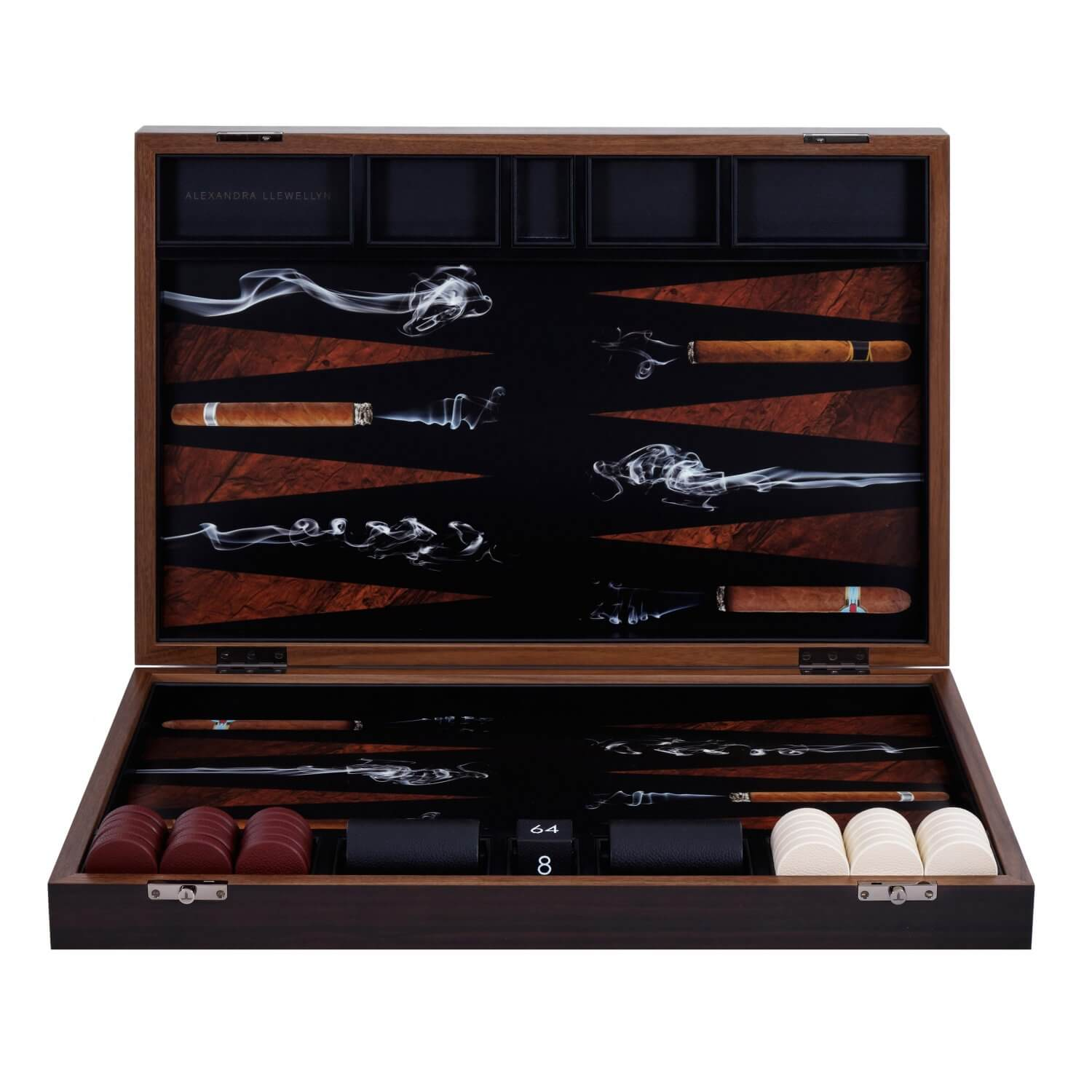 Cigar backgammon board in a Fumed Eucalyptus box with red and cream leather pieces