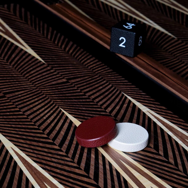 Alexandra Llewellyn Geometric Walnut Backgammon Set Detail