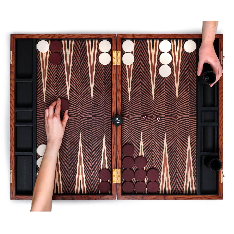Alexandra Llewellyn Geometric Walnut Backgammon Set Open