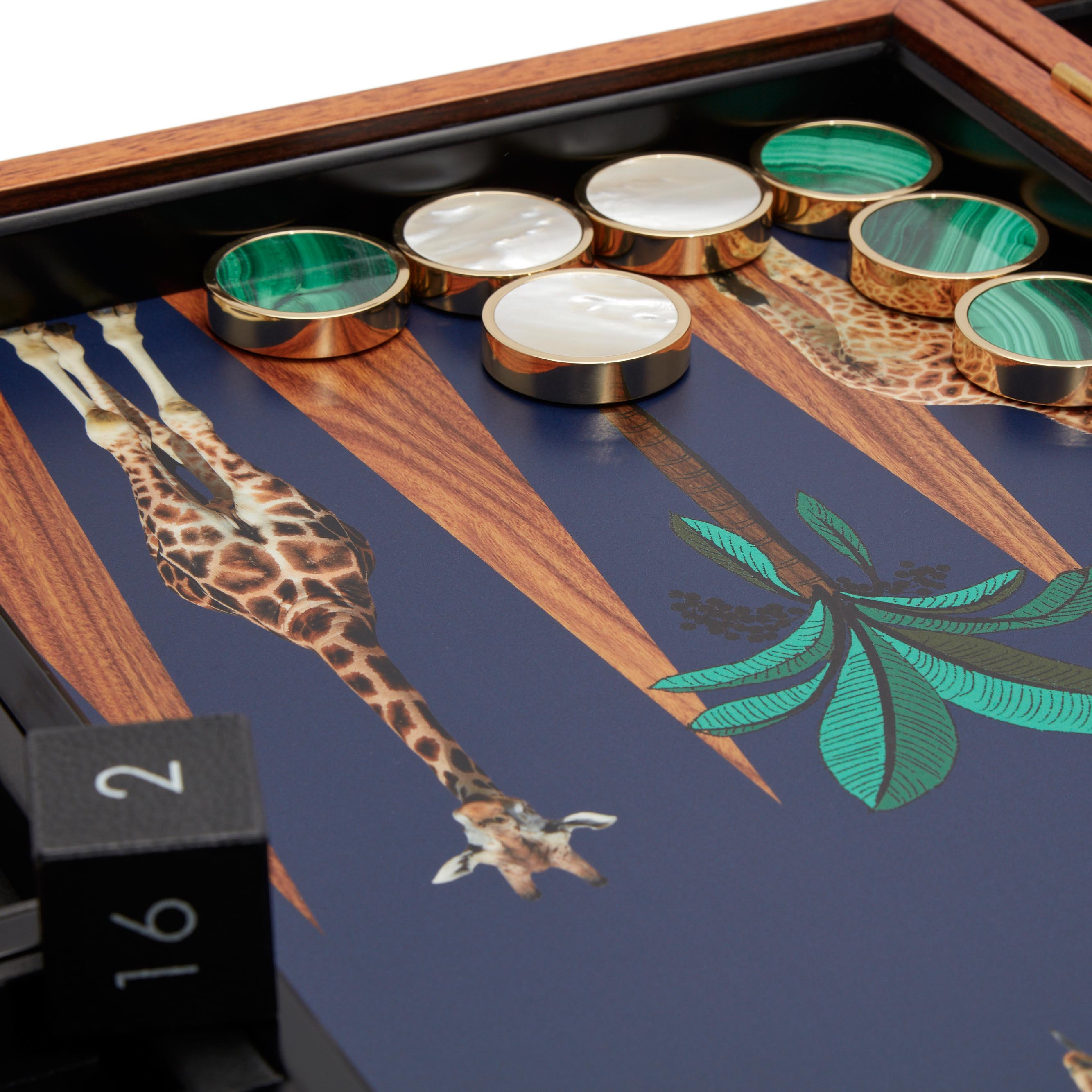 Giraffe backgammon set in a Rose Wood box with Malachite and Mother of Pearl playing pieces