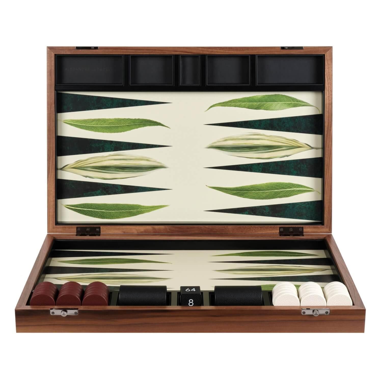 Alexandra Llewellyn Leaf Backgammon Set upright