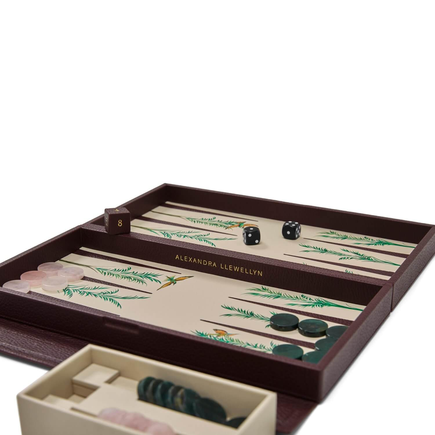 Palm leather travel backgammon board with rose quartz and green agate playing pieces