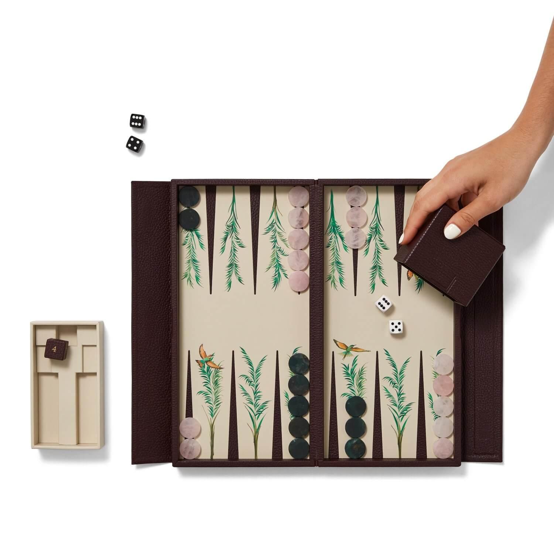 Alexandra Llewellyn Palm Travel Backgammon Set Open