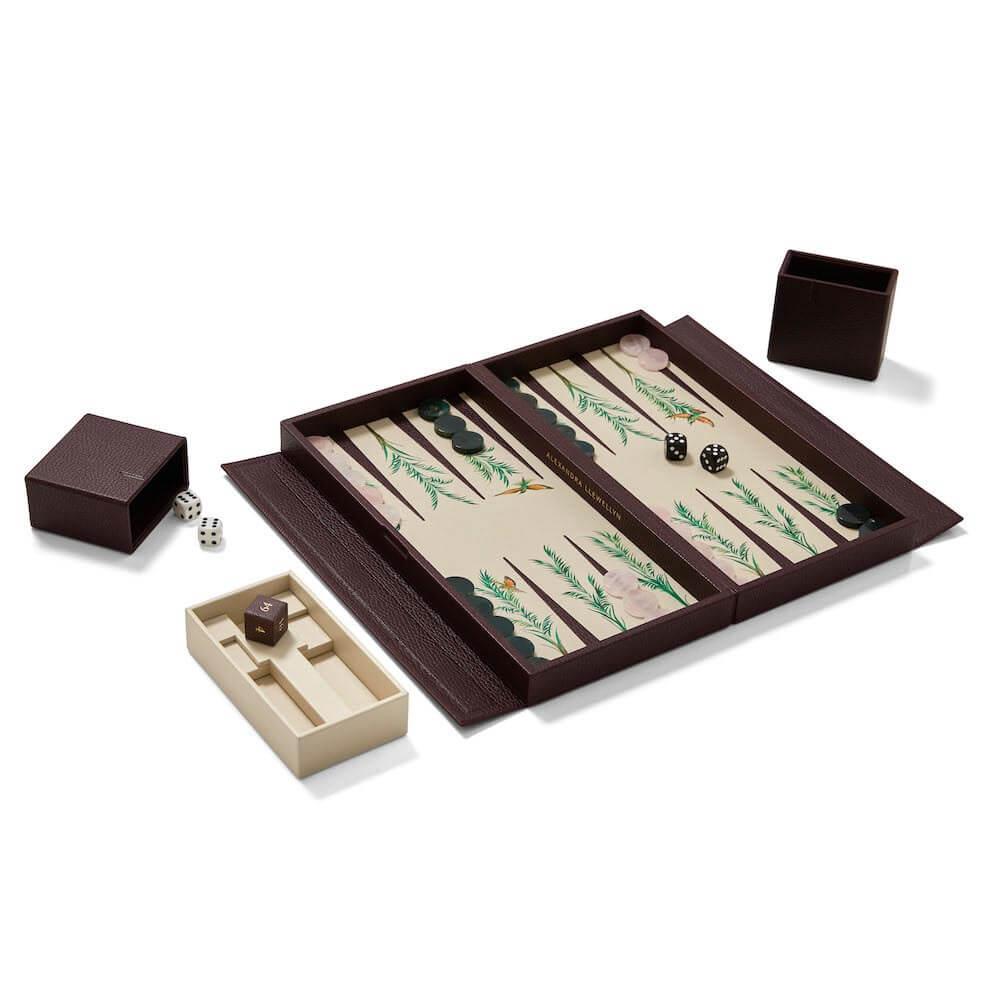 Alexandra Llewellyn Palm Travel Backgammon Set Open Travel Backgammon Set Open