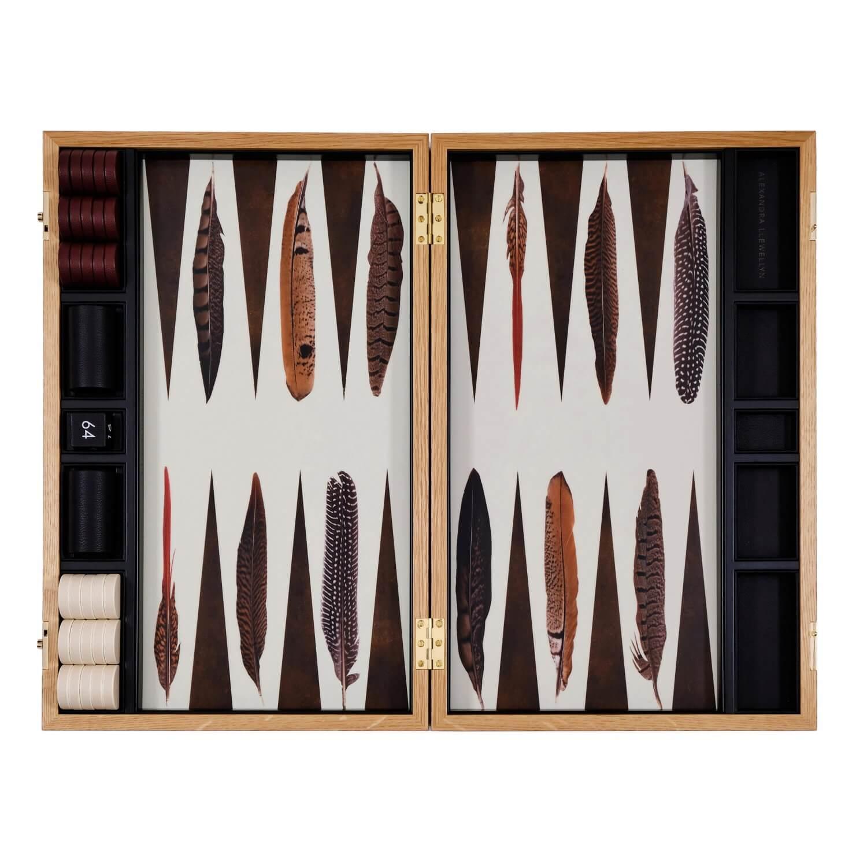Alexandra Llewellyn Pheasant Backgammon Set Open