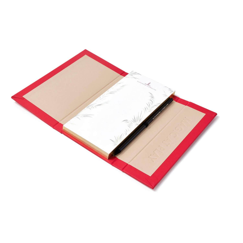 Alexandra Llewellyn Red Notepad Open
