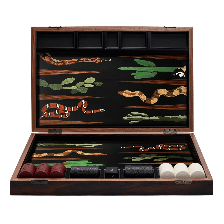 Alexandra Llewellyn Snake Marq Backgammon Set upright