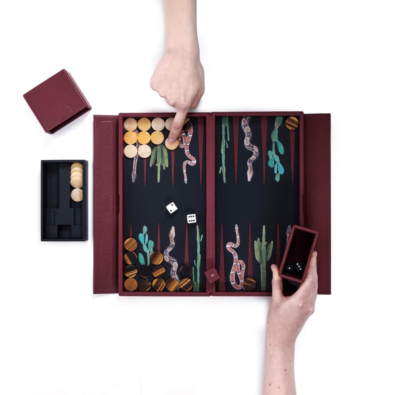 Alexandra Llewellyn Snake Travel Backgammon Set Open