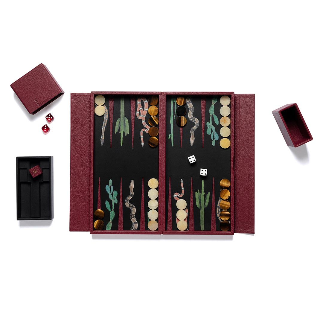 Snake leather backgammon travel set with tiger eye and yellow agate playing pieces