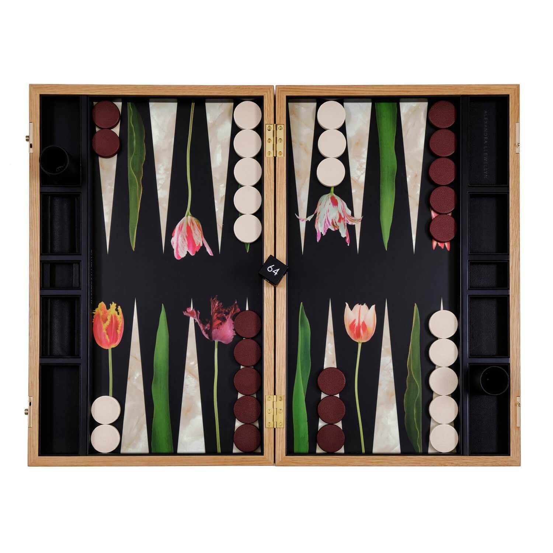 Alexandra Llewellyn Tulip Backgammon Set Open