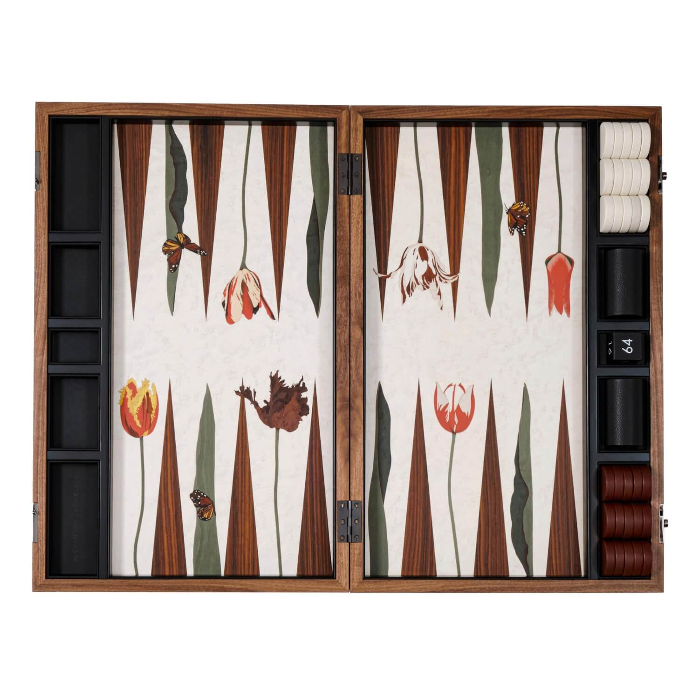 Alexandra Llewellyn Tulip Marq Backgammon Set Open
