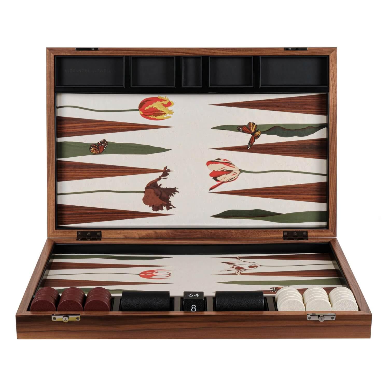 Alexandra Llewellyn Tulip Marq Backgammon Set upright