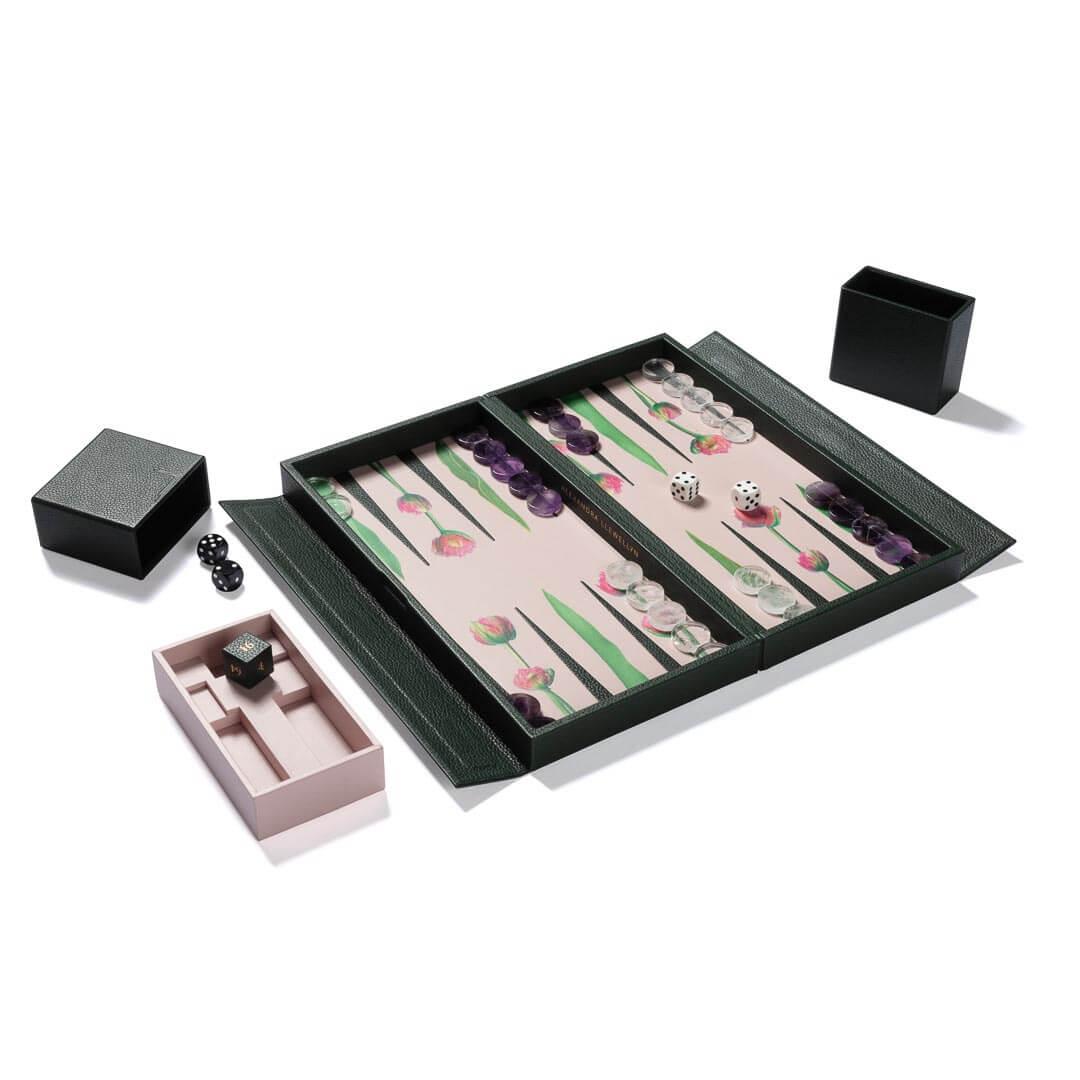Alexandra Llewellyn Tulip Travel Backgammon Set Open