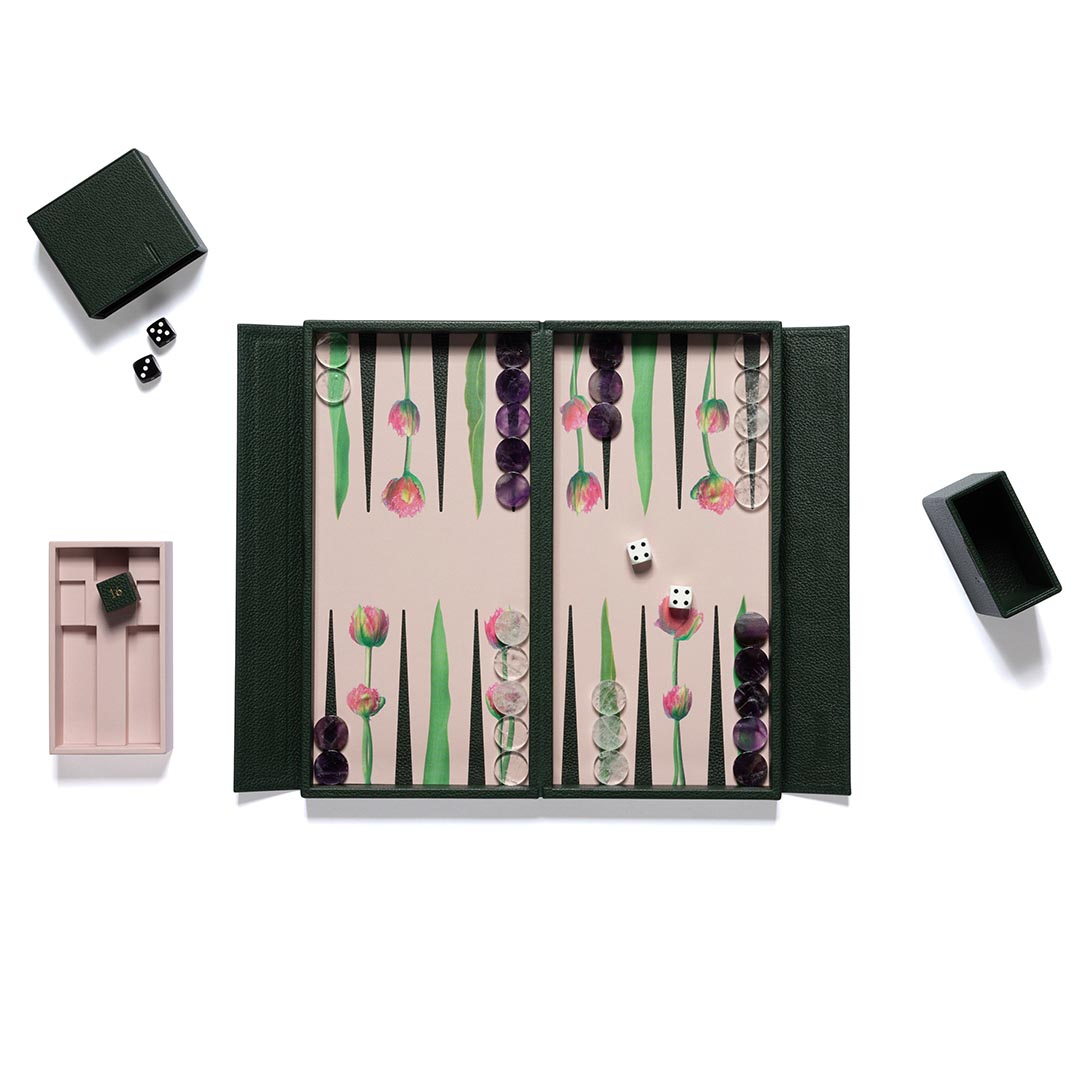 Tulip leather travel backgammon board with rock crystal and amethyst playing pieces