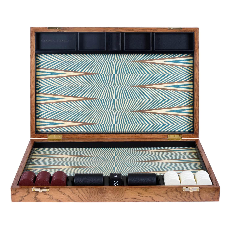 Alexandra Llewellyn Turquoise Backgammon Set upright