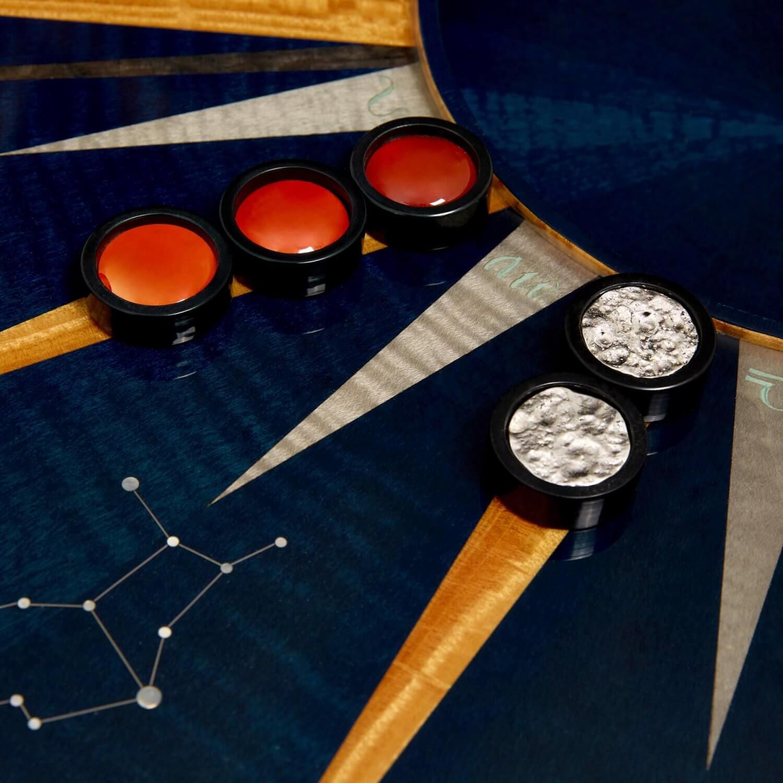 Zodiac marquetry backgammon board