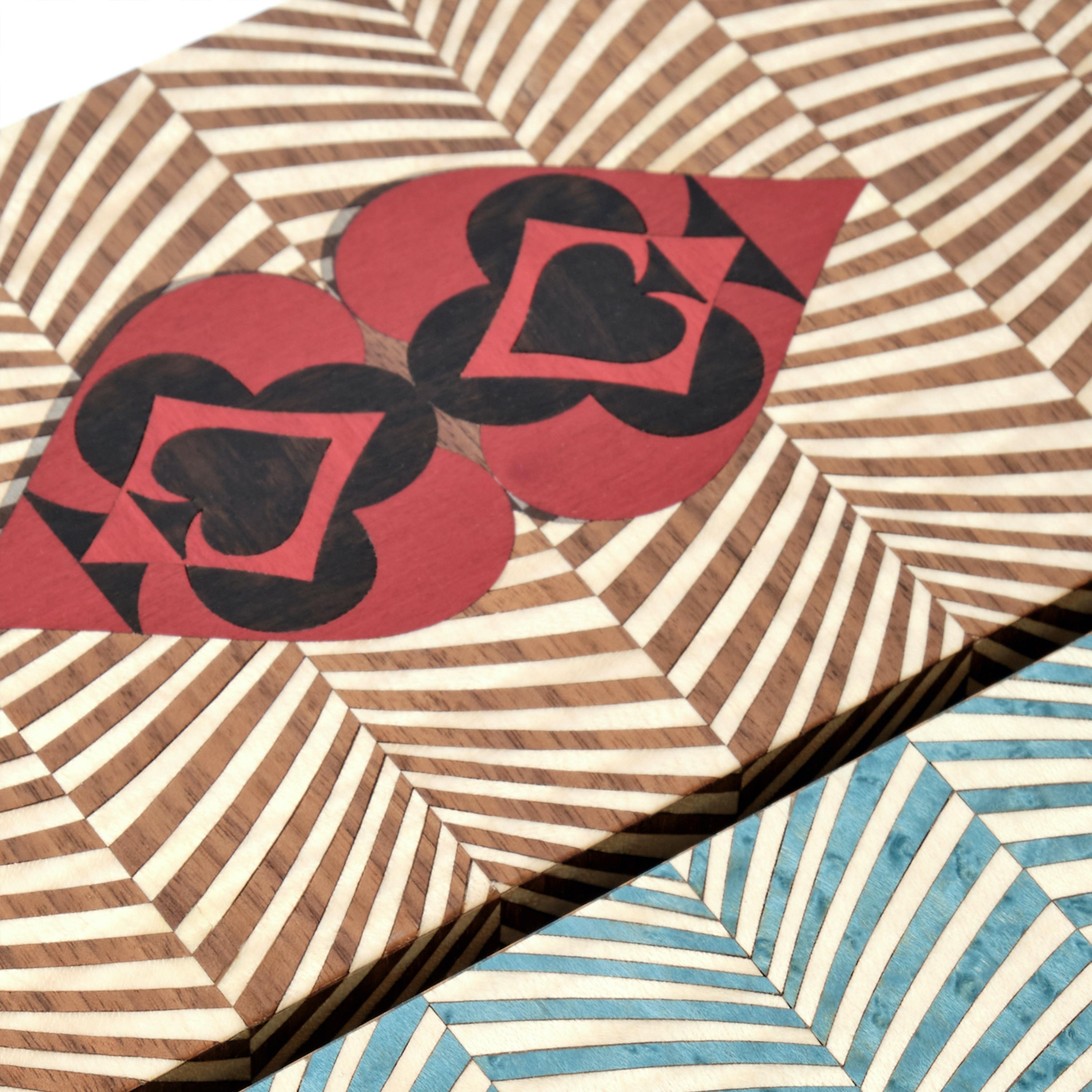 lid of box with ace of spade marquetry design
