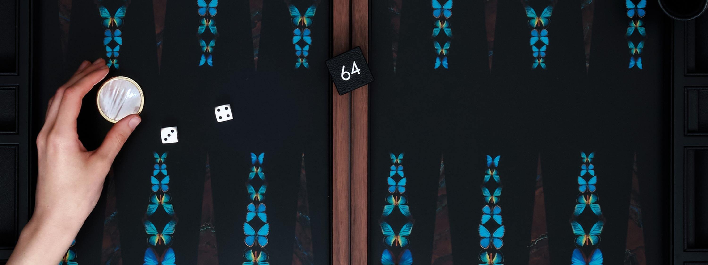 Alexandra Llewellyn butterfly backgammonn board