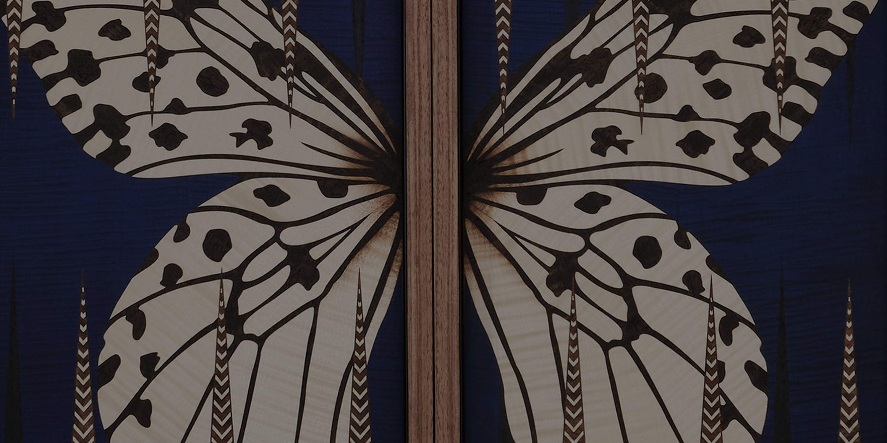 A close up of butterfly marquetry wings