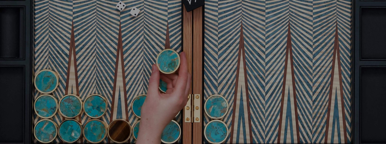 Alexandra Llewellyn Turquoise Geometric Backgammon Set