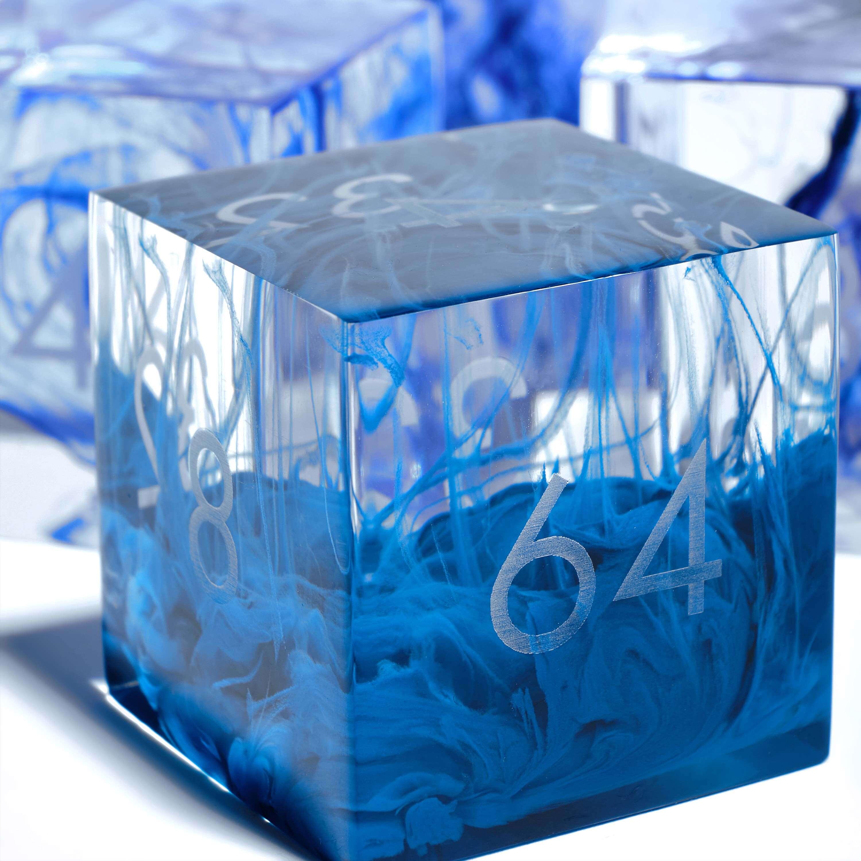 Blue streaks in a clear resin doubling cube
