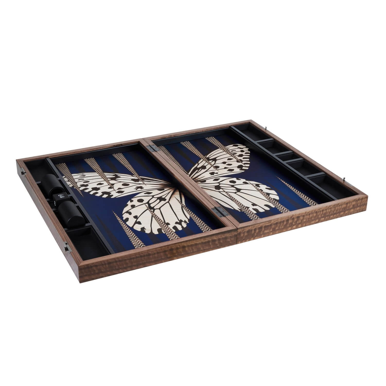 Alexandra Llewellyn B&W Butterfly Backgammon Set Open
