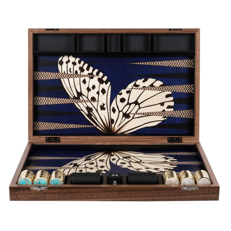 Alexandra Llewellyn B&W Butterfly Backgammon Set upright