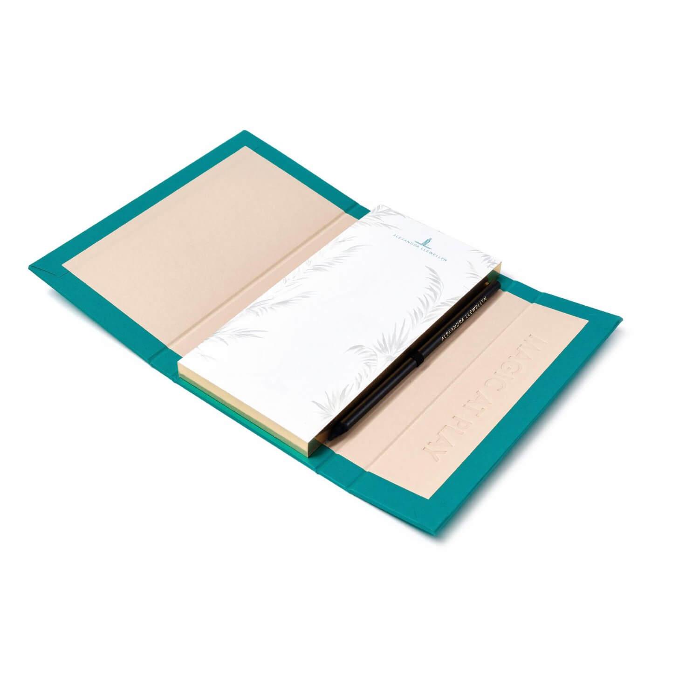 Alexandra Llewellyn Turquoise Notepad Open
