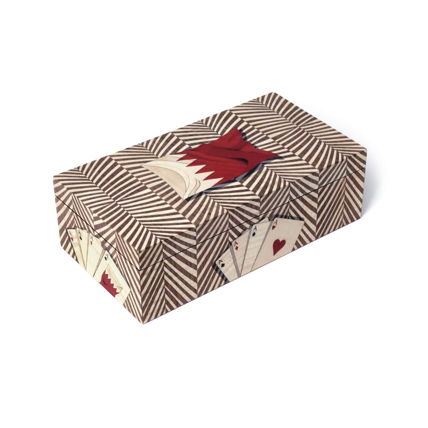 Bespoke red and white marquetry card box design