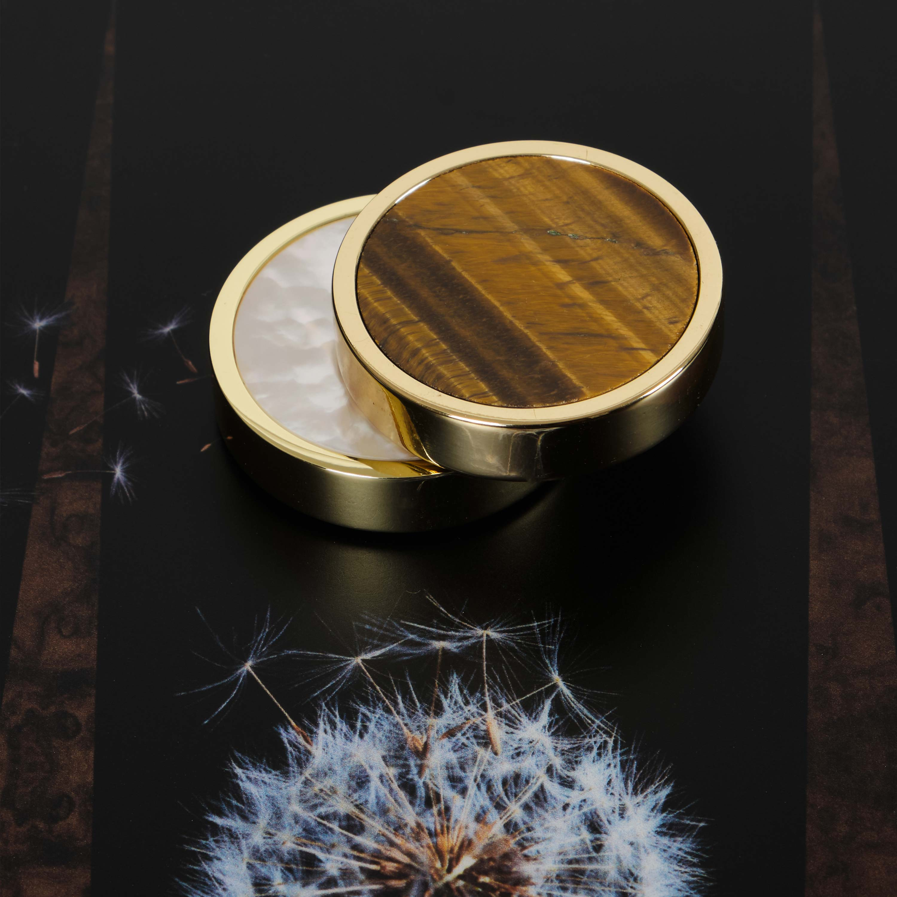 Tiger's Eye and Mother of Pearl playing pieces