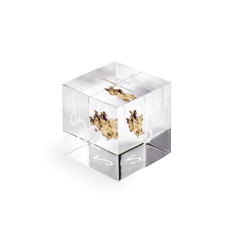 Crystallised gold resin doubling cube